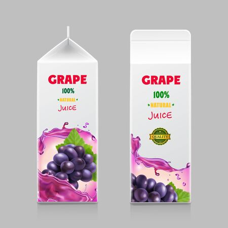 Juice carton box in drink 3d pack with grape branch isolated realistic Çizim