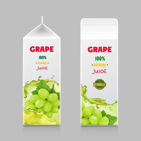 Juice drink carton pack with white sweet grape branch isolated Stock fotó - 131718392