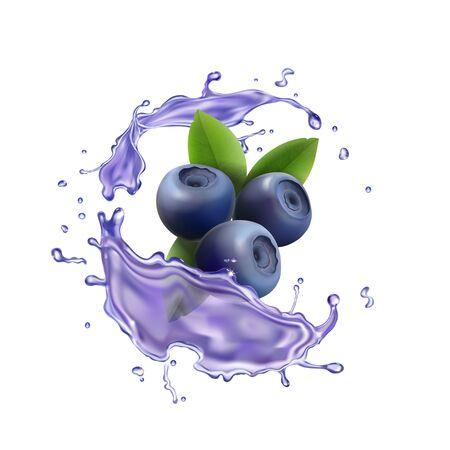 Blueberry berry juice splash Realistic illustration.
