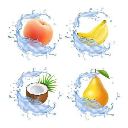 Sweet fruit. Banana, coconut, peach, pear apricot fresh juice Realistic 3d illustration icons set.