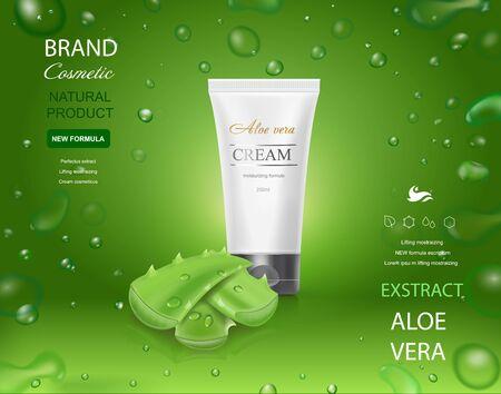 Aloe vera cosmetic template, cream tube