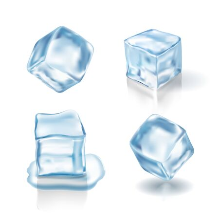 ice cubes in light blue colors. Realistic illustration