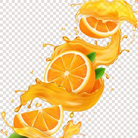Transparent splash sliced orange juice 3d realistic vector. Citrus fruit liquid symbol, tropical summer drink in a spiral
