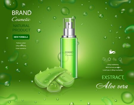 Aloe vera extract, gel, body lotion contained in cosmetic bottle, with aloe vera leaves. Water green background 3d with bubbles illustration. Иллюстрация