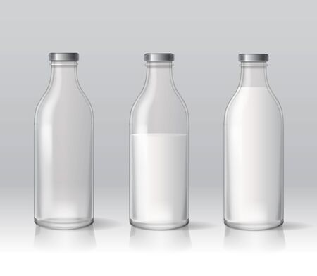 glass milk bottles. Dairy products. Empty and full 3d illustration set