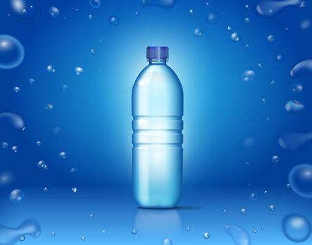 Bottle with clean mineral water. Bubbles on blue Reklamní fotografie