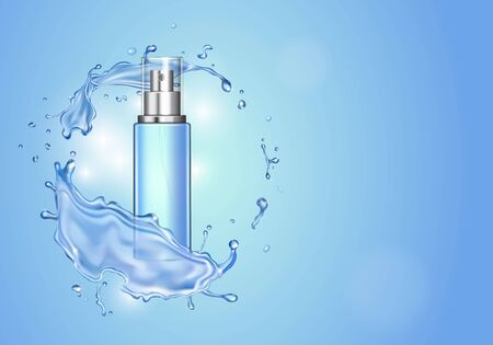 Ice toner ads with blue water splash. spray bottle, water drops , realistic cosmetics product ads.
