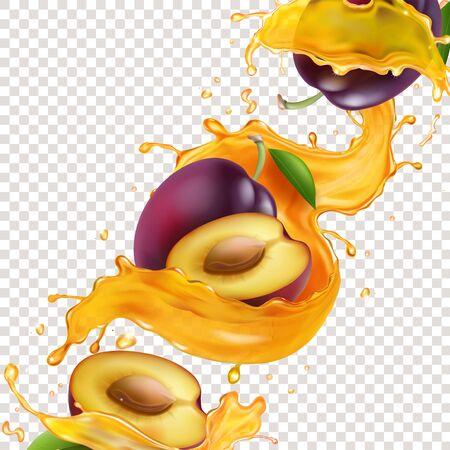 Plum fruit in splashing yellow juice illustration