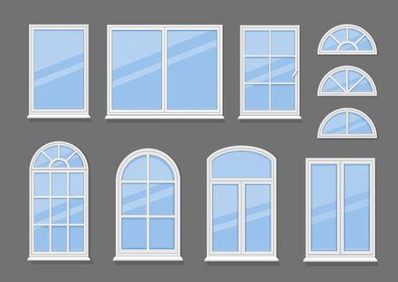 Windows with white frames set vector illustration. Various types plastic windows collection. Ilustracja
