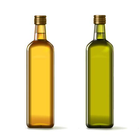 Conjunto realista de botellas de aceite de oliva y girasol.