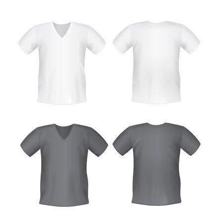 Weißes schwarzes Herren-T-Shirt kurz vorne, hinten Ansichten Standard-Bild