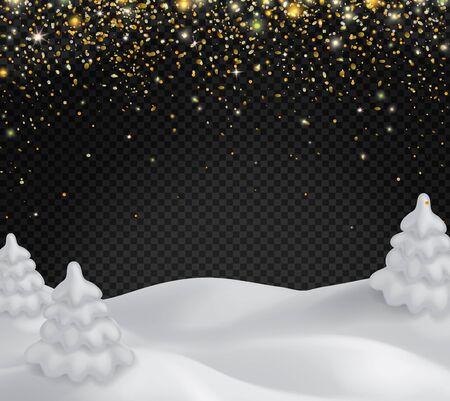 Snowy landscapewith golden glittering snowflakes Illusztráció
