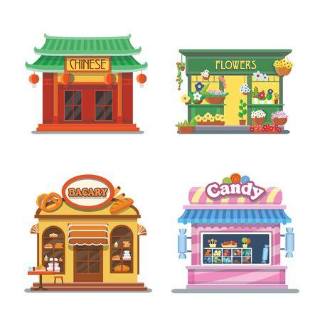 Belle vetrine di negozi. Panetteria, negozio di dolciumi, cibo cinese, negozio di fiori. Insieme dell'illustrazione piatto. Archivio Fotografico