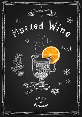 Mulled wine in a glass and spices. Ilustracja