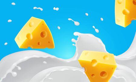 Morceaux de fromage triangulaires dans des éclaboussures de lait r