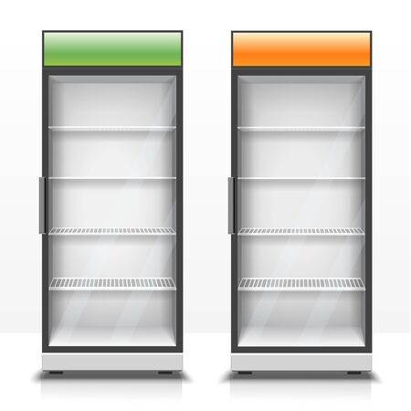 Two empty vertical refrigerators with front panels 3d illustration