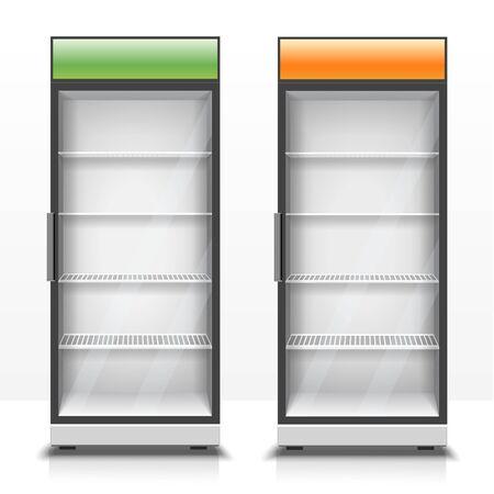 Zwei leere vertikale Kühlschränke mit Frontplatten 3D-Darstellung