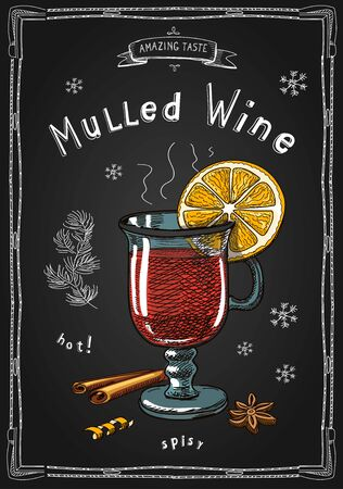 Christmas mulled wine in a glass. Hot drinks