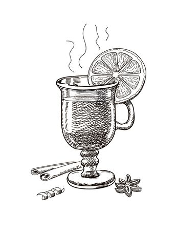 Mulled wine glass Hand drawn Ilustrace