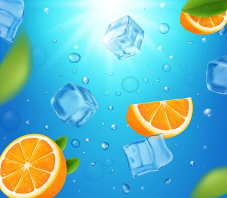 Fresh oranges fruits in water with ice cubes. Realistic floating orange slices illustration