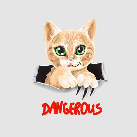 cute cat illustration. Funny kitten in ripped paper slogan dangerous.
