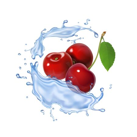 Cherry realistic fruit icon Fresh berry in water splash Stock Photo