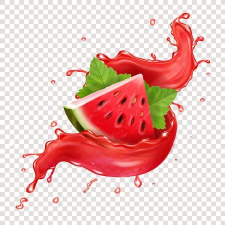 Sandía en jugo rojo fresco splah ilustración realista