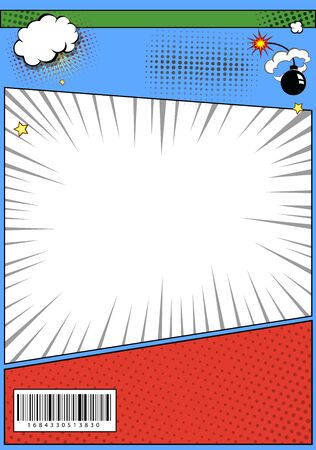 Comic book page page template. Pop art comic page Illustration