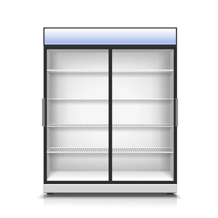 Empty vertical refrigerator for with two front panels