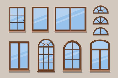 Windows brown various frames collection. Wooden window types in the wall Ilustração