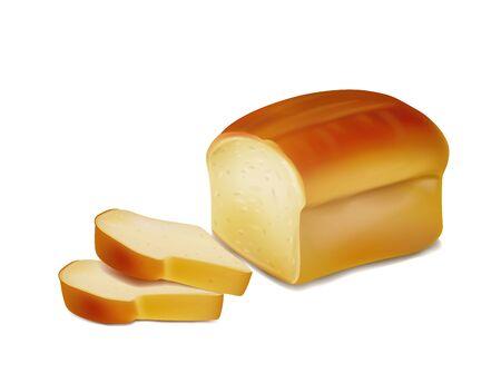 Bread, bakery icon, sliced fresh wheat bread