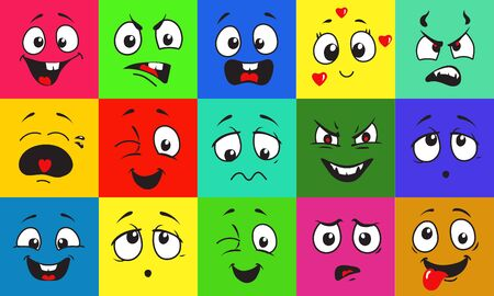 Funny cartoon faces with emotions on bright colored background. Facial doodle avatar expressions vector illustrations set