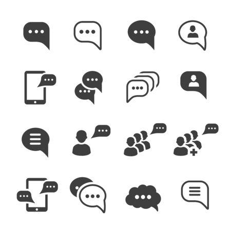 Ensemble d'icônes de bulle de texte de conversation de message vocal