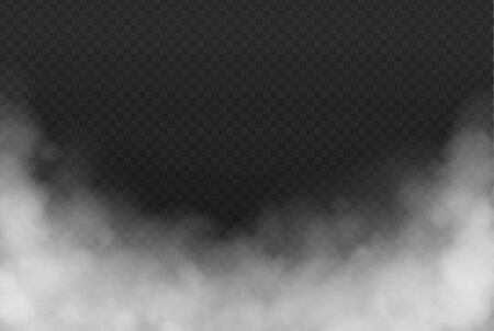Smoke or fog isolated transparent effect on dark background. White cloudiness, mist or smog background. Vector illustration