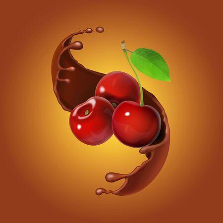 Cherries and chocolate realistic Stock Photo