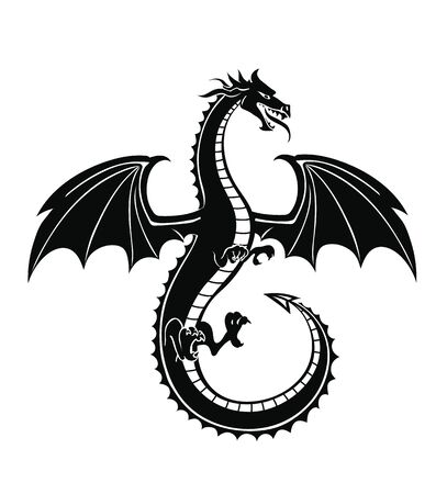 Black silhouette of the dragon vector. Flying mythical animal. Stock Illustratie