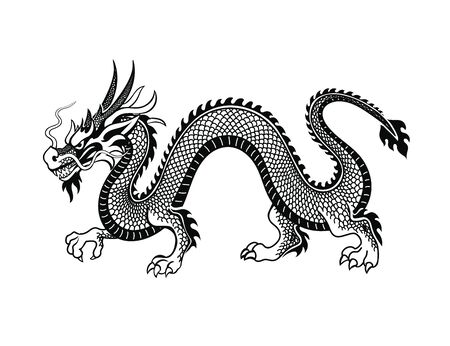 Tradition asian dragon on white Illustration