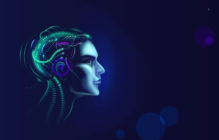 Futuristic artificial intelligence concept. Brain with neural network thinks Illustration