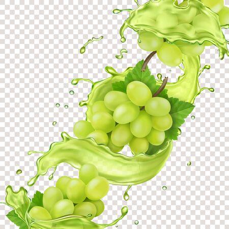 White grape branch in grape juice splash realistic design for advertising