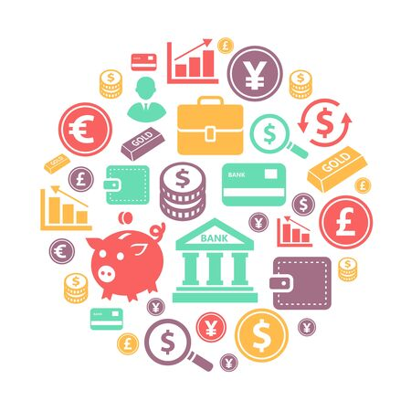 Finance and bank Icons on circle background. Banking concept with credit cards, euro, and dollar, yen sign. Stock Illustratie