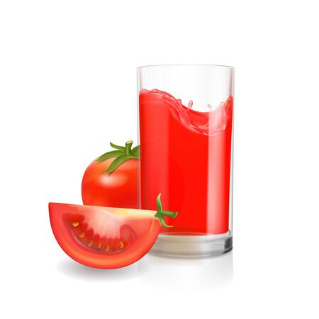 Tomato juice in glass realistic 3d illustration