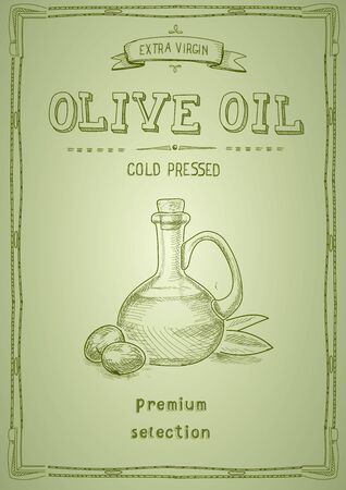 Olive oil label packaging design. Hand drawn illustration of oil bottle and olives on green background 일러스트