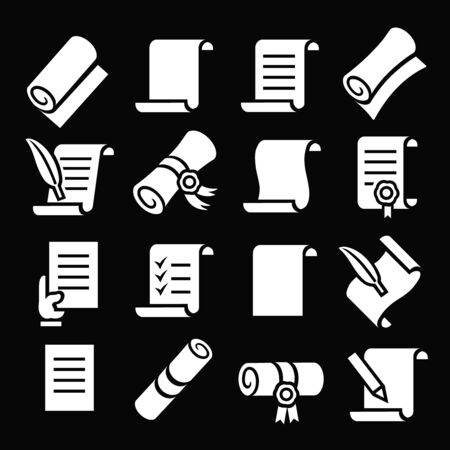 Scrolls and papers vector classic icon set.