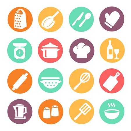 Cooking icon set. Kitchen tools, kitchenware equipment food preparation elements modern flat collection. Kitchen utensils and cookware icons.