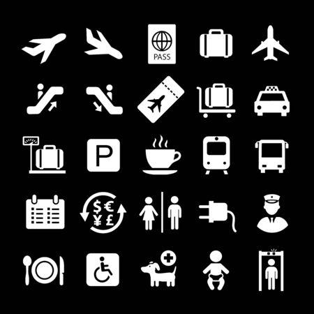 Airport white icons on black background. Flight ticket arrival, passport pictogram set