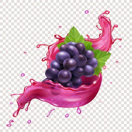 Vector realista de salpicaduras de jugo de uvas rojas