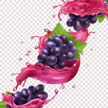 Red wine or juice splash and grape brunch realistic vector ilustration