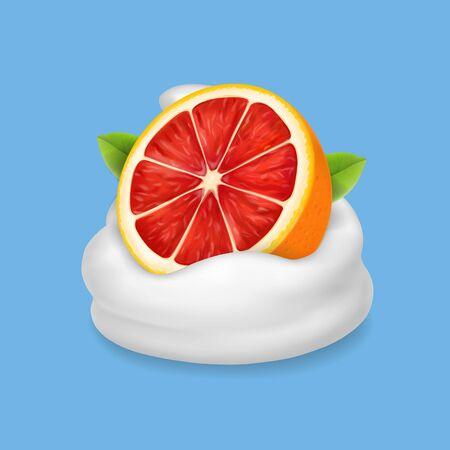 The ripe grapefruit in whipped cream or yogurt