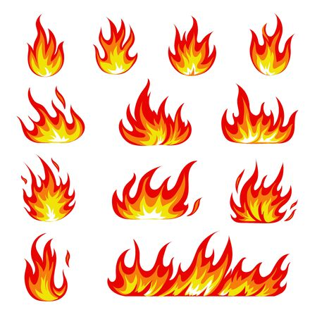 Cartoon fire icons set.