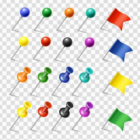 Colored pins, flags and tack pointer. Pinned markers vector set. Office supplies 向量圖像